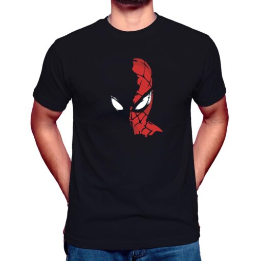 spiderman half face t shirt black mens boys
