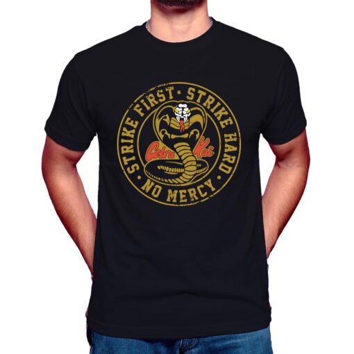 cobra kai strike first t shirt no mercy the karate kid