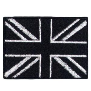 Embroidered Black Union Jack Patch Iron On - British UK Flag